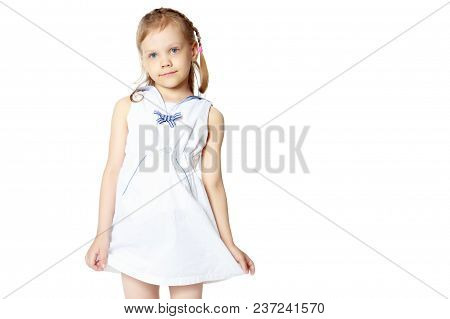 Little Girl, The Gesture Is Quiet. The Concept Of Secrecy, Games, Observance Of Silence. Isolated Ov