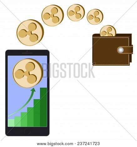 Transfer Ripple Coins From Phone In The Wallet On A White Background,growth Diagram With Coin Of Rip