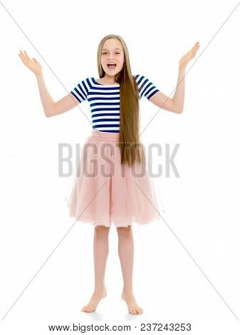 Very Emotional Little Girl Of School Age. The Concept Of Happy People, Psychology. Isolated On White