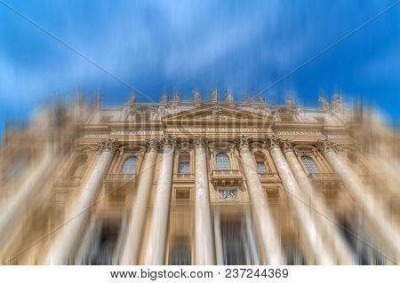 Front View Of St Peter's Basilica In Vatican City