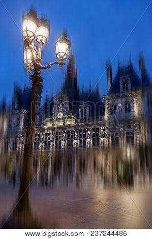 Paris City Hall Illuminated At Night