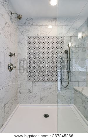 Lovely Walk-in Shower With Carrera Marble Surround