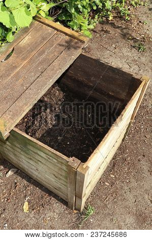 Ready Made Compost Pile In Open Bin Wood Crate