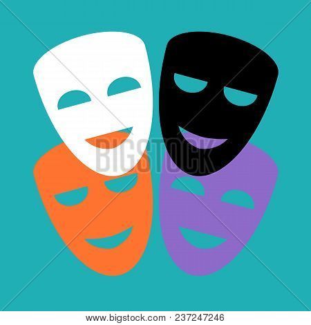 Set Of Traditional Theatrical Masks On A Blue Background. Flat Style. Vector Illustration.