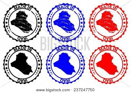 Made In Iraq - Rubber Stamp - Vector, Iraq Map Pattern - Black, Blue And Red