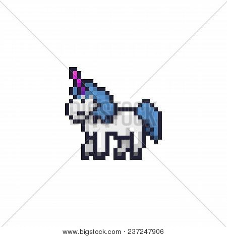 Pixel Art Unicorn. 8 Bit Style Vector. White Horse With Purple Magic Horn And Blue Cute Hair. Pixel