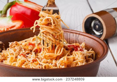Pasta In Navy. Pasta With Minced Meat