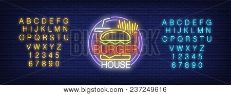 Burger House Signage Neon Sign. Yellow And Blue Sets Of English Alphabet And Numbers. Neon Sign, Nig