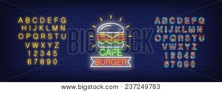 Cafe Burger And Alphabet Neon Sign Set. Hamburger, Ribbon Shape, Yellow And Colorful Letters And Num
