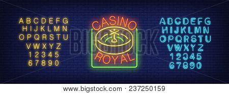 Casino Royal And Neon Alphabet Sign Set. Roulette, Blue And Yellow Letters And Numbers. Night Bright