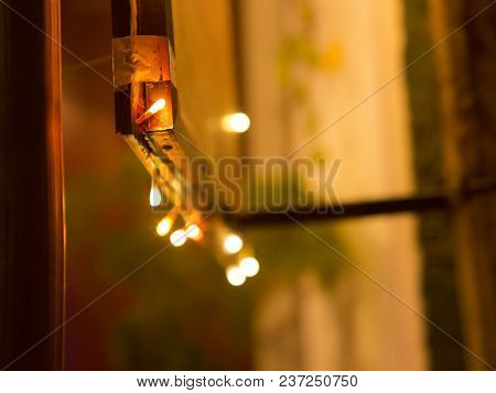 Colorful Lights. Festive Mood. Abstract Blurred Background. Festive Lights Close-up In The City Déco
