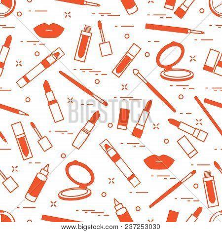 Seamless Pattern Of Different Lip Make-up Tools. Vector Illustration Of Lipsticks, Mirror, Lip Liner