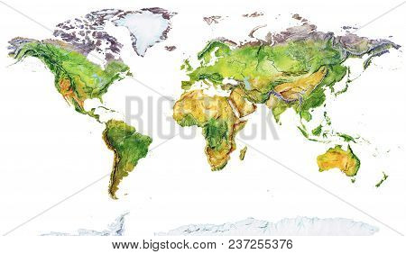 Watercolor Geographical Map Of The World. Physical Map Of The World. Realistic Image. Isolated On Wh