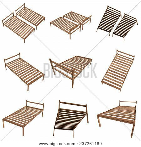 Base Orthopedic Wooden Bed Set 3d Render Illustration Isolated On White