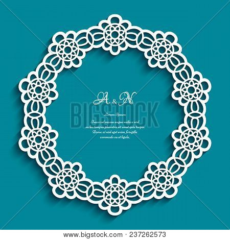 Circle Frame With Ornamental Border, Lace Doily, Cutout Paper Round Pattern, Elegant Template For La