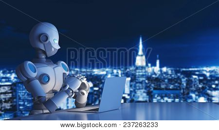 Robot Using A Laptop Computer In City, Artificial Intelligence In Futuristic Technology Concept, 3d