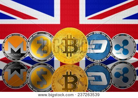 Cryptocurrency Coins - Bitcoin (btc), Monero (xmr), Zcash (zec), Ripple (xrp), Dash On The Backgroun