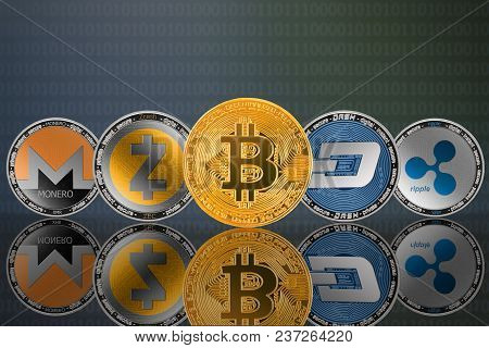 Cryptocurrency Coins - Bitcoin (btc), Monero (xmr), Zcash (zec), Ripple (xrp), Dash. Front View