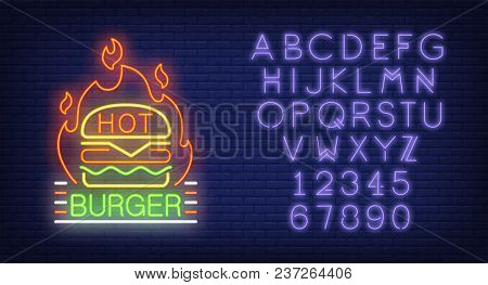 Hot Burger And Alphabet Neon Sign Set. Hamburger, Fire And Violet Letters And Numbers. Night Bright