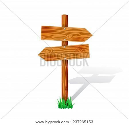 Cartoon Wooden Signpost With Grass. Isolated Arrow Sign Vector Illustration