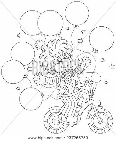 Circus Show Of A Funny Clown Riding His Bicycle With Balloons, Black And White Vector Illustration I