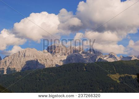 View Of Dolomites Mountains And Big Wood Of Coniferous  - Site Trentino Alto Adige