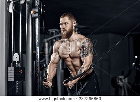 Young Athlete Doing Exercises In The Gym. Bodybuilding Concept Background.
