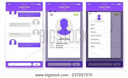 Ui Kit Of Mobile App. Page Of Profile And Sidebar Menu Screen, Friends List With Chat. Gui Design Fo