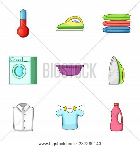 Laundry Icons Set. Cartoon Set Of 9 Laundry Vector Icons For Web Isolated On White Background