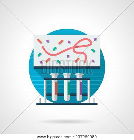 Abstract Illustration Of Methods For Research Virus Or Bacteria Pathogen. Three Test Tubes With Flui