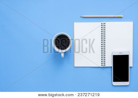 Office Desk Working Space - Flat Lay Top View Mockup Of A Working Space With White Blank Notebook Pa