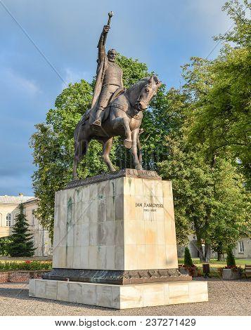 Zamosc, Poland - August 23, 2017: Jan Zamoyski Monument In Zamosc, Poland. Sculpture To Great Founde