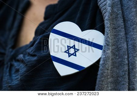 Israeli Flag In The Shape Of Heart
