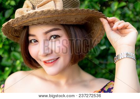 Portrait Charming Beautiful Woman: Attractive Asian Woman Has Nice Smile When Pretty Woman Smile Tha
