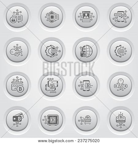 Bitcoin And Blockchain Crypto Technology Button Icons. Modern Computer Network Technology Sign Set.