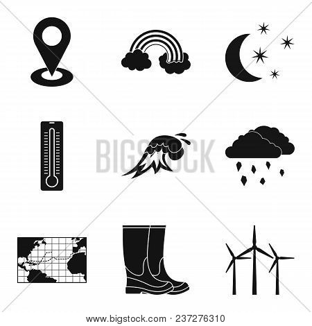 Atmospheric Icons Set. Simple Set Of 9 Atmospheric Vector Icons For Web Isolated On White Background