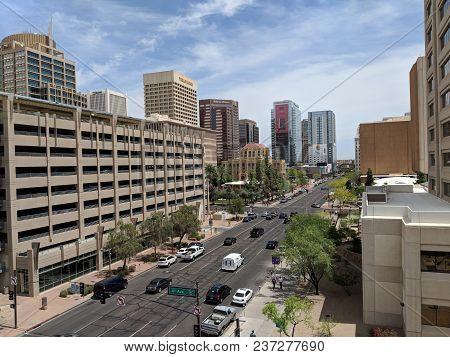 Phoenix, Az, Usa - April 19, 2019: Jefferson Street East Of 4th Avenue Intersection In Phoenix Downt