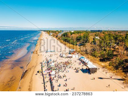 April 22, 2018. Jurmala, Latvia. Aerial View From Drone On People Running On Marathon Event On The B