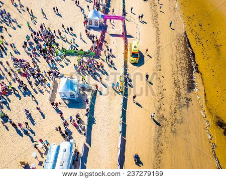 April 22, 2018. Jurmala, Latvia. Aerial View From Drone On People Are Running On Marathon Event By T