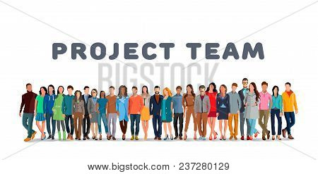 Project Team. Employee Group. The Team Of Workers. Men And Women In One Team. Men And Women In One P