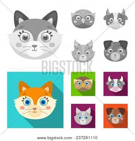 Owl, Cow, Wolf, Dog. Animal Muzzle Set Collection Icons In Monochrome, Flat Style Vector Symbol Stoc