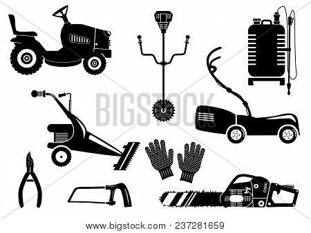 Set Of Silhouettes Of Garden Equipment For Grass Mowing. Black And White Vector Icons Illustration.
