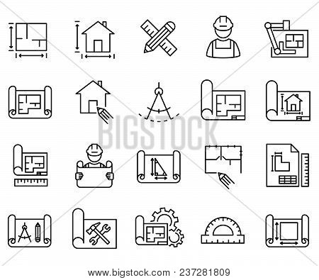 Simple Set Of Blueprint Related Vector Line Icons. Contains Such Icons As Scheme, Sketch, Projection