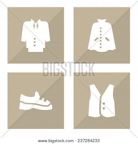 Set Of 4 Garment Icons Set. Collection Of Suit, Vest, Trainers And Other Elements.
