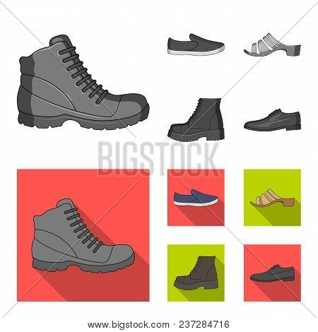 A Set Of Icons On A Variety Of Shoes.different Shoes Single Icon In Monochrome, Flat Style Vector Sy