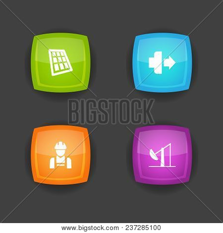 Set Of 4 Technology Icons Set. Collection Of Jog Forward, Solar Panel, Employee And Other Elements.