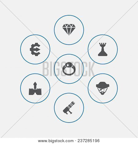 Set Of 7 Game Icons Set. Collection Of Magic Ring, Pirate, Gatling Gun And Other Elements.