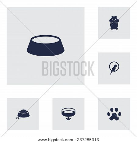 Set Of 6 Animals Icons Set. Collection Of Parrot, Hamster, Caw And Other Elements.