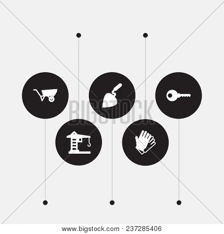 Set Of 5 Architecture Icons Set. Collection Of Key, Gloves, Wheelbarrow And Other Elements.