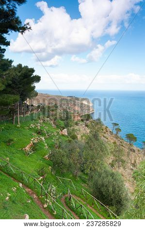 Spectacular View Of Italian Woodland Mountain And Sea With Cloudy Blue Sky. Colored Summertime Outdo